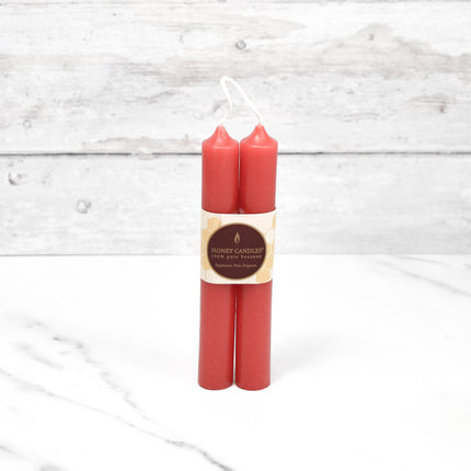 6 Inch Red Tube Pair Beeswax Candles