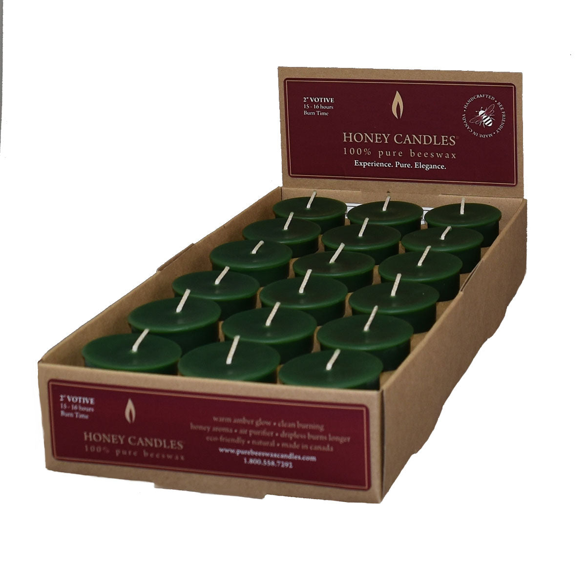 case of dark green votive beeswax candles