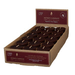 case of 18 votive candles , dark brown in color