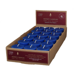 18 blue votive beeswax candles in a box