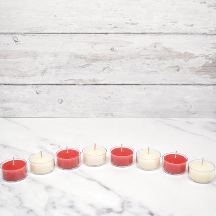 4 Red & 4 White Special Occasion Tealights Beeswax Candles