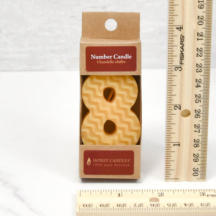 Number 8 Beeswax Candle
