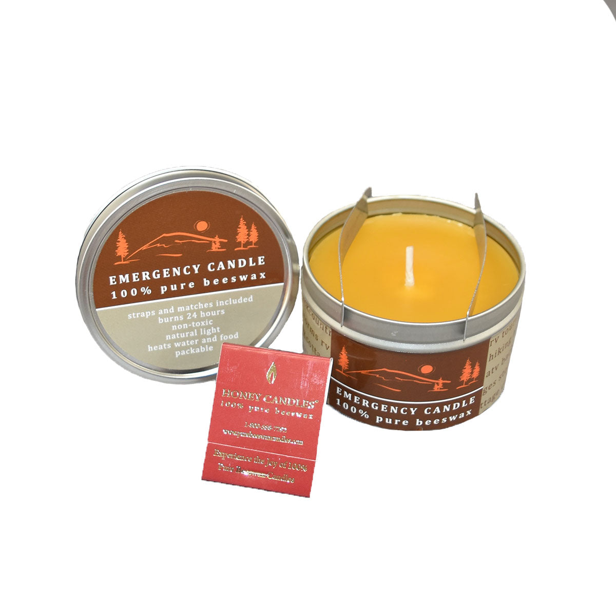 emergency beeswax candle in metal tin with matches and instructions