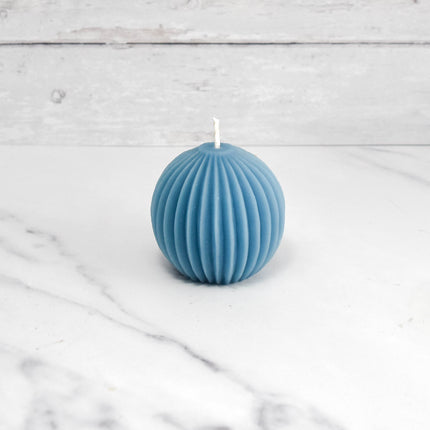 Fluted Sphere Glacier Teal Beeswax Candle