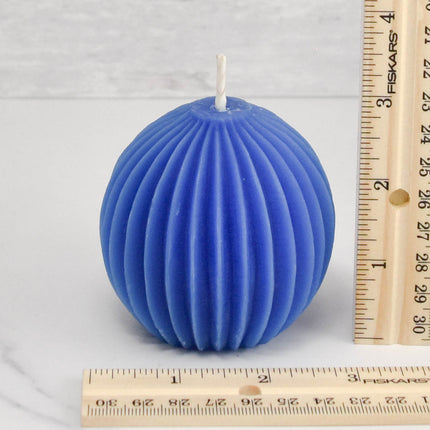 Fluted Sphere Blue Beeswax Candle