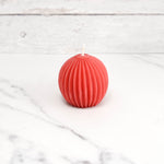 Fluted Sphere Red Beeswax Candle