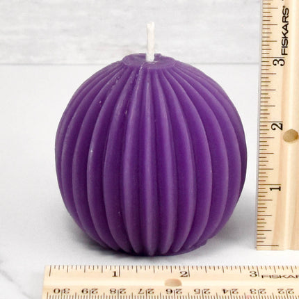 Fluted Sphere Violet Beeswax Candle