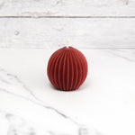 Fluted Sphere Burgundy Beeswax Candle