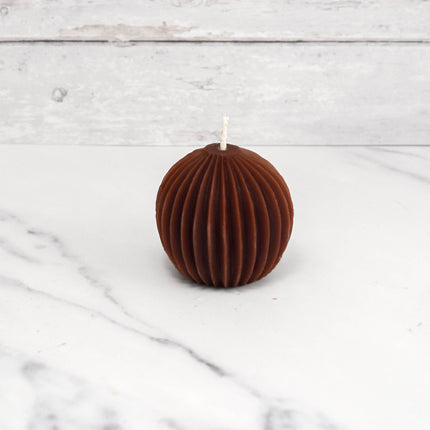 Fluted Sphere Brown Beeswax Candle