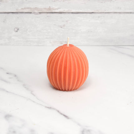 Fluted Sphere Tangerine Beeswax Candle
