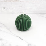 Fluted Sphere Forest Green Beeswax Candle
