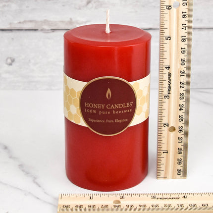 Red Round Pillar Beeswax Candles