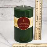 Forest Green Round Pillar Beeswax Candles