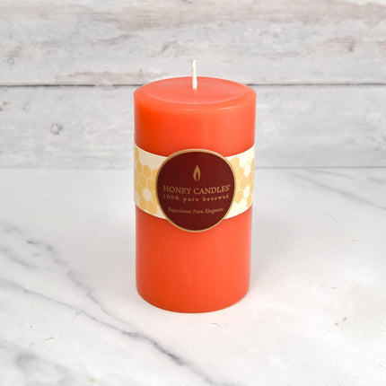 Tangerine Round Pillar Beeswax Candles