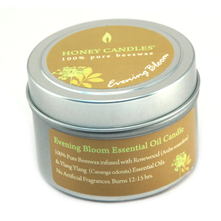 Evening Bloom essential bees wax candle in a metal  container