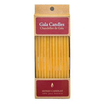 package of 12 natural beeswax gala candles in cute recyclable packaging