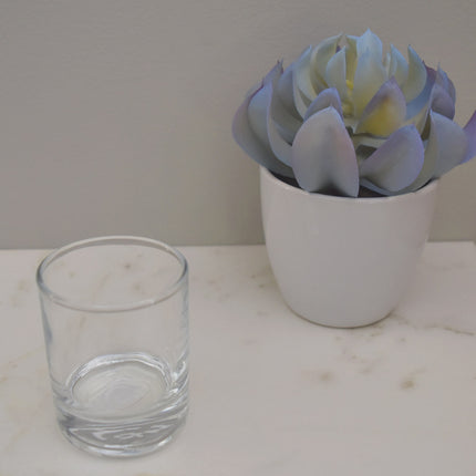 Glass cup for beeswax votive candles