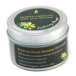 essential oil beeswax candle in Kootenay Forest scent in a silver container