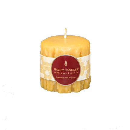 3 inch beeswax heritage pillar candle in natural color