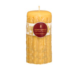 7 inch tall round heritage pillar candle in natural colour