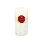 7 inch white double dripped round beeswax candle