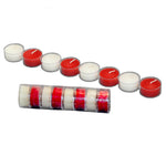 white and red roll of 8 tealight beeswax candles