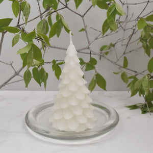 White beeswax christmas tree candle made with all natural pure beeswax