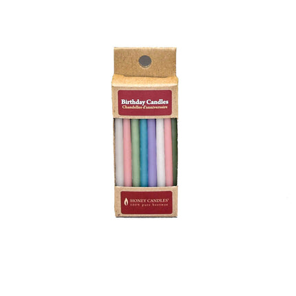 pack of 20 pastel color beeswax birthday candles, in recyclable packaging