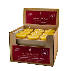 case of 18 natural beeswax votive candles