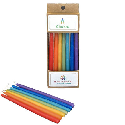 set of colorful beeswax candles in plastic free packaging