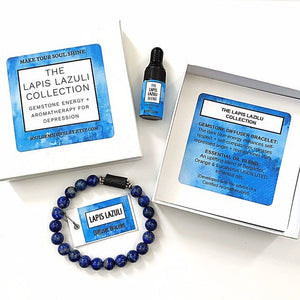 Lapis Lazuli Gemstone Energy + Aromatherapy for Depression, Lava Bead Diffuser Bracelet, Essential Oil Blend, Uplifting, Mood Boost, Box Set
