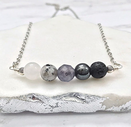 Moon Phase Beaded Necklace | Essential Oil Diffuser Necklace | Lava Bead Necklace | Celestial Necklace | Crystal Healing Energy