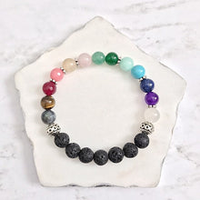 Load image into Gallery viewer, 7 Chakras Bracelet | Chakra Gemstone + Lava Bead Bracelet