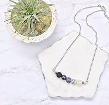 Load image into Gallery viewer, Moon Phase Beaded Necklace | Essential Oil Diffuser Necklace | Lava Bead Necklace | Celestial Necklace | Crystal Healing Energy