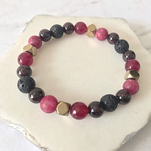 Load image into Gallery viewer, Garnet + Lava Bead Diffuser Bracelet | Essential Oil Diffusing Bracelet | Aromatherapy Bracelet | Red Gemstone Beaded Bracelet