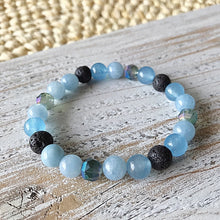 Load image into Gallery viewer, Lava Bead + Gemstone Diffuser Bracelet | Essential Oil Aromatherapy Bracelet | Aquamarine | Healing Energy