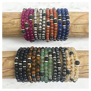 """The Skinnies"" Gemstone + Lava Bead Diffuser Bracelets"