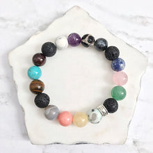 Load image into Gallery viewer, GET BALANCED:  7 Chakras gemstone + lava bead diffuser bracelet
