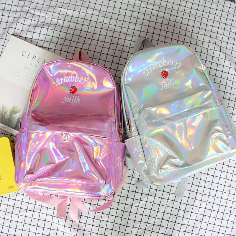 4 Colors Hologram Strawberry Milk Backpack L13635