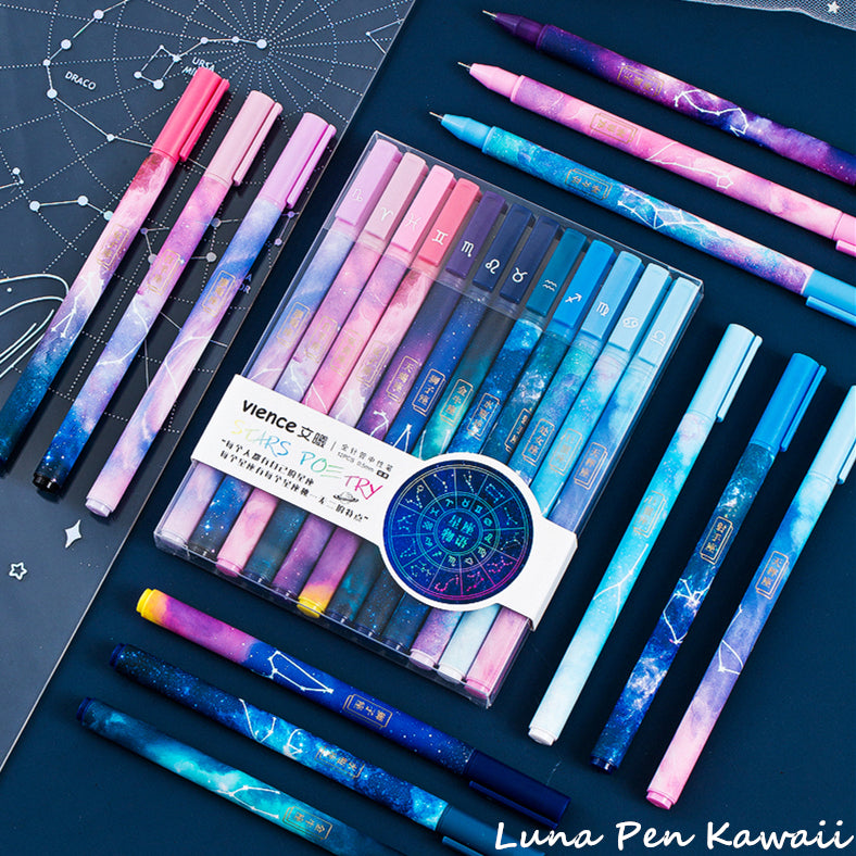 Kawaii Twelve Galaxy Constellations Gel Pen Set L011