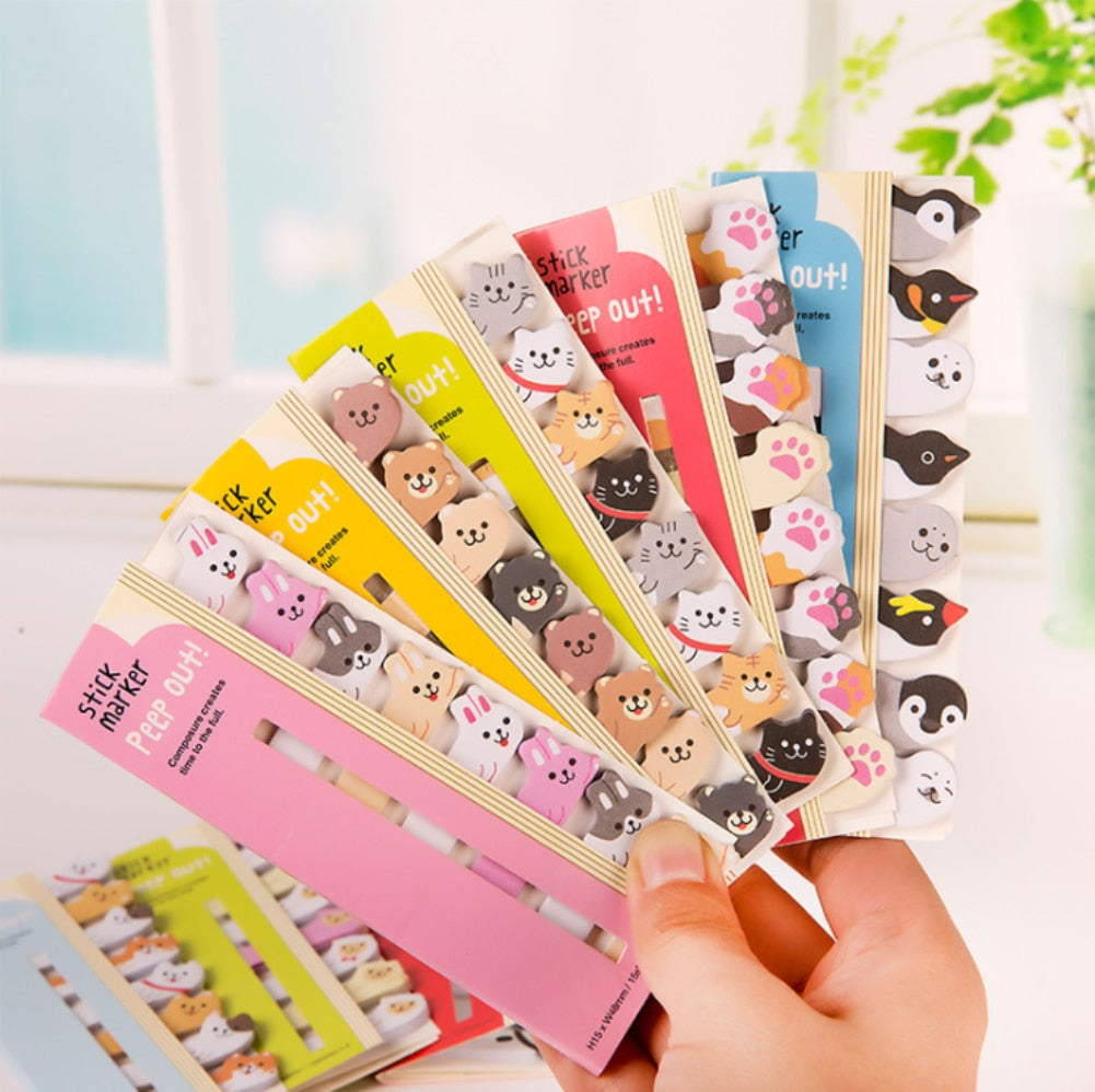 8pcs/lot Kawaii Cartoon Animals Cat Panda Memo Pad Sticky Notes