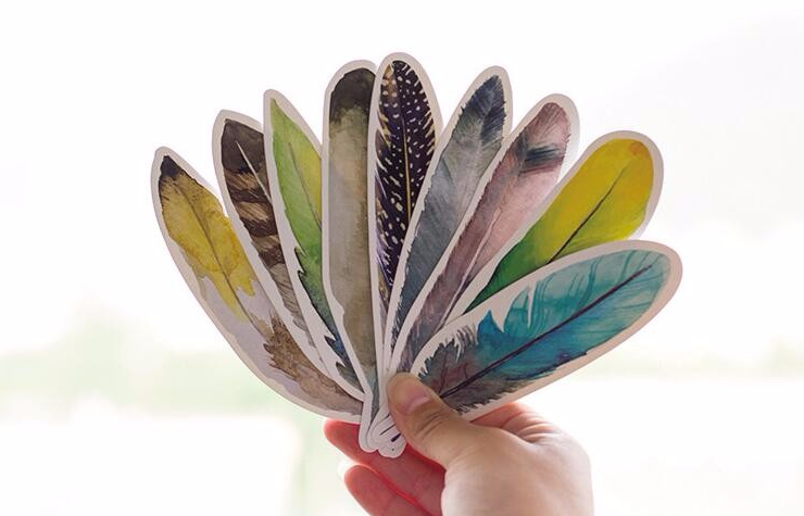 Colorful Feather Paper Bookmarks