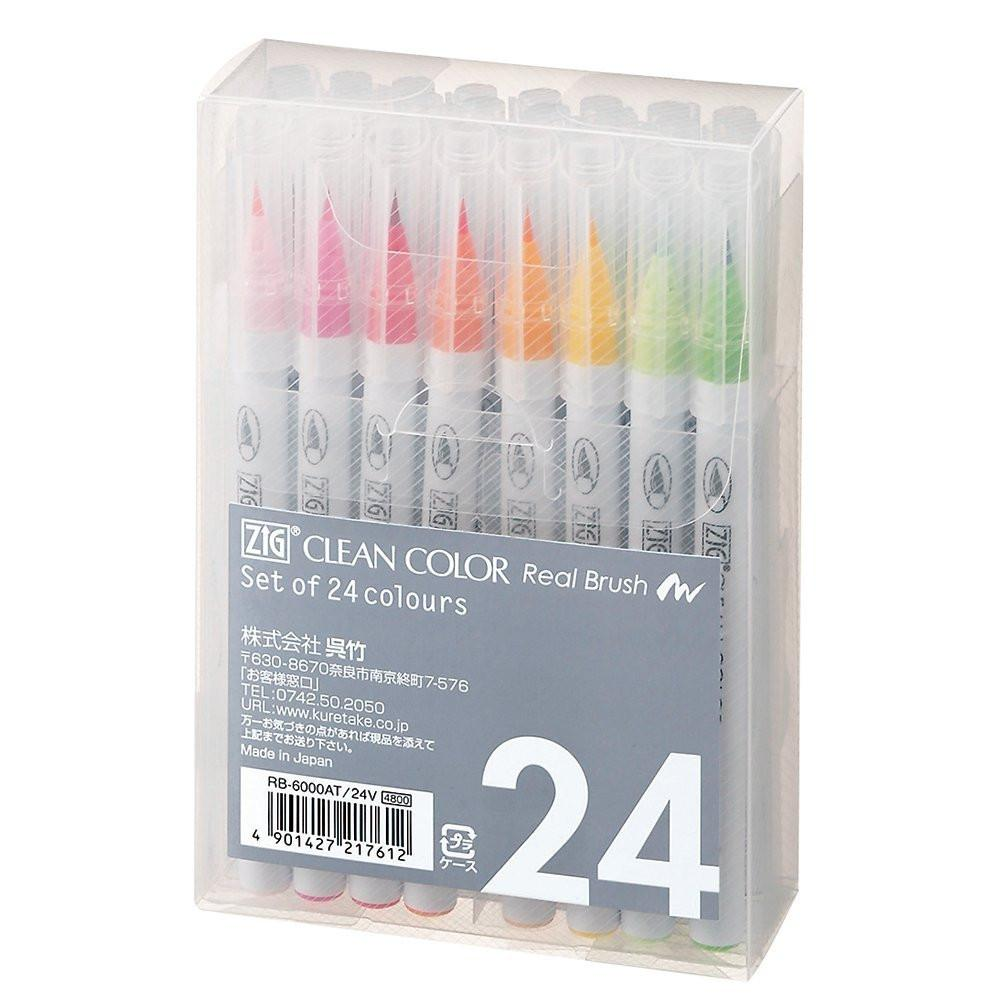 Kuretake ZIG Clean Color Real Brush Pen - 24 Color Set