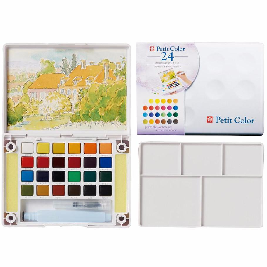 Sakura Petit Color Watercolor Field Sketch Box Set - 24 Color Palette + Water Brush