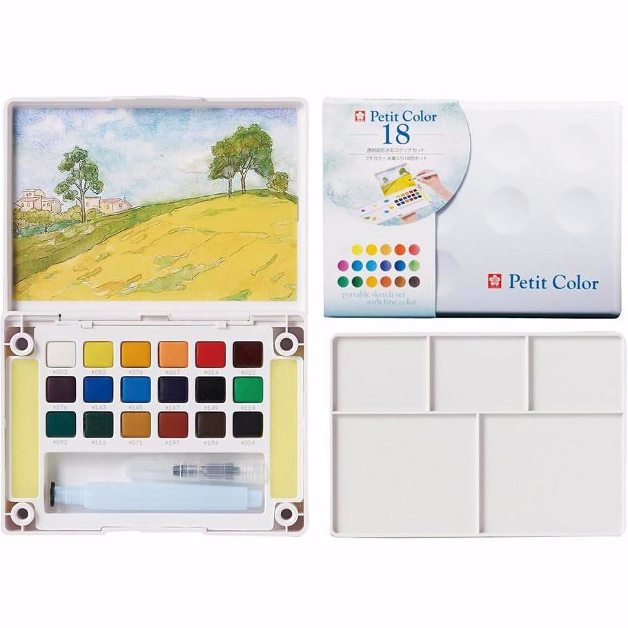 Sakura Petit Color Watercolor Field Sketch Box Set - 18 Color Palette + Water Brush