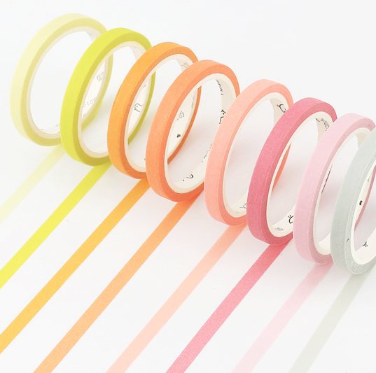 Slim Unicolor Washi Tape (24 Colors)