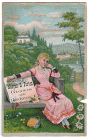 Advertising Trade Card for Morgan & Porter Bakers Grocers. South Bend, Indiana