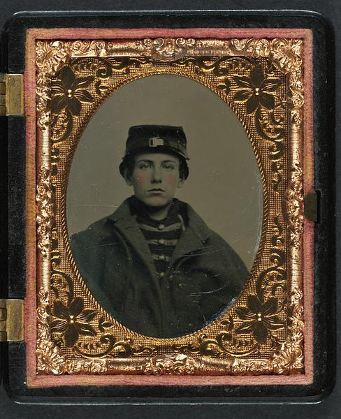 Unidentified soldier in Confederate Ambrotype, hand-colored Library of Congress