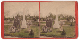 1879 Hand Tinted Stereoview Mourning Photograph of Sarah Cartner`s Grave, IL