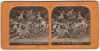 "Early French ""Tissue"" Stereoview Photograph of Devils on bicycles. ""La Cavalerie Infernale"""